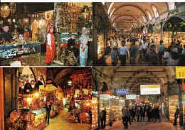 4 UNUSED  POSTCARDS:  KAPALI CARSI - Covered GRAND-BAZAR -ISTANBUL: Interior Of The Market - Turkey/Türkiye -  (2 Scans) - Turkije