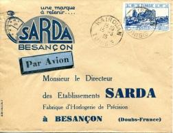 étiquette Bleu Et Noire, Lettre De Tunisie Pour Besançon Càd De Kairouan Du 15-3-1935 - Tunisie (1888-1955)