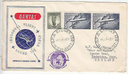 Australia: Qantas Round The World Inaugural Flight, Sydney To Kent, 14 Jan 1958 - First Flight Covers
