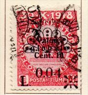 """PIA - FIUME  - 1921 -  Segnatasse - Francobollo Della Serie """"Valore Globale"""" Soprastampato - 2° Tipo  -  (UN 16A) - Fiume"""