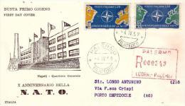 Fdc Saniaf: NATO (1959);Raccomandata; AF_Palermo - F.D.C.