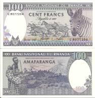 Rwanda P-19, 100 Francs, Woman, Baby, Karisimbi & Visoke Volcanoe / Great Zebras - Rwanda