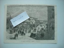GRAVURE 1869. ALLEMAGNE. LE THEATRE PROVISOIRE A DRESDE. - Stampe & Incisioni