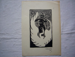 Gravure Originale N & B Nu Féminin Signée Teissier ?  16 X 22 Cm - Gravure