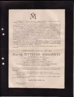 SCHURHOVEN SAINT-TROND Théodore Baron De PITTEURS HIEGAERTS Gouverneur Du Limbourg Député Famille SNOY 1834-1917 - Esquela