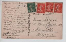 TP Semeuse S/CP Souvenir De Smyrne C.Trésors Et Postes En 1921 V.Marcinelle PR2618 - Levant (1885-1946)