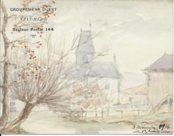 Eglise De Livry Sur Vesle/ Louvercy : Aquarelle/Militaria.1916. Voir Descriptif - Frankrijk