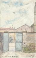 Tacot Et Partie église De Livry Sur Vesle/ Louvercy : Aquarelle/Militaria.1916. Voir Descriptif - Frankrijk