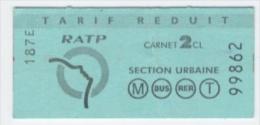 RATP BLEU TARIF REDUIT SECTION URBAINE  ---ALBUM -R 31 - Metropolitana