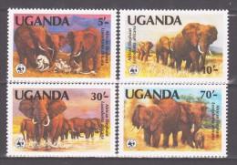 Uganda 1990 Mi 361-364 WWF. Wordwide Conservation: African Elephant / Elefant **/MNH - W.W.F.