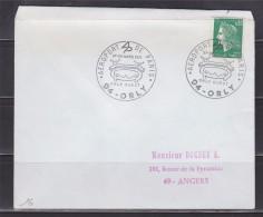 = Aéroport De Paris 27-28 Mars 1971 Orly-Ouest 94 Orly Enveloppe N°1611 Marianne De Cheffer - Gedenkstempel