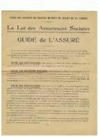 UNION DES SOCIETES DE SECOURS MUTUELS DU BASSIN DE LA SAMBRE à MAUBEUGE (NORD) 1930 - Décrets & Lois