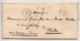 L De Gemmenich 1843 Avec T18 HENRI-CHAPELLE + P.P. Pour Jalhay - 1830-1849 (Belgique Indépendante)