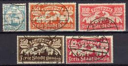 Danzig 1923 Mi 133-137, Gestempelt, Flugpost / Air Mail (Stempel Gefälscht) [310116XIV] - Danzig
