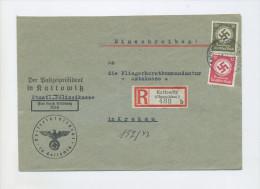 1944 3. Reich R- Dienstbrief POLIZEI KATTOWITZ Mit 12 Pfg + 30 Pf Hakenkreuz D 141 D 172 -> Fliegerhorst Krakau - Dienstpost