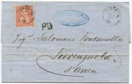 844 - Sitzende Helvetia Von BIRRWEIL Nach ITALIEN - Briefe U. Dokumente