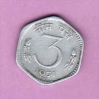 INDIA  3 PAISE 1971 (KM # 14.2) - India