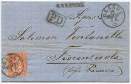 845 - Sitzende Helvetia Von ENNENDA Nach ITALIEN - 1862-1881 Helvetia Assise (dentelés)