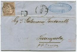 846 - 60 Rappen Sitzende Helvetia Von BIRRWEIL Nach ITALIEN - Lettres & Documents