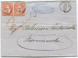 847 - MeF 30 Rappen Sitzende Helvetia Von BIRRWEIL Nach ITALIEN - 1862-1881 Helvetia Assise (dentelés)