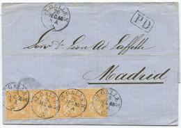 848 - MeF 20 Rappen Sitzende Helvetia Von ST.GALLEN Nach SPANIEN - 1862-1881 Sitzende Helvetia (gezähnt)