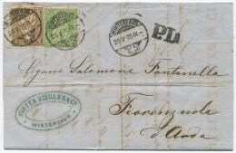 850 - MiF 5 + 20 Rappen Sitzende Helvetia Von WINTERTHUR Nach ITALIEN - 1862-1881 Helvetia Assise (dentelés)
