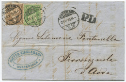850 - 5 + 25 Rappen Sitzende Helvetia Von WINTERTHUR Nach ITALIEN - 1862-1881 Sitzende Helvetia (gezähnt)