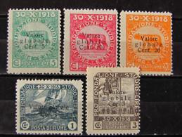 """ITALIA Regno Fiume-1919- """"Fondazione Studio Sopr."""" 5 Val. MH* (descrizione) - Occupation 1ère Guerre Mondiale"""