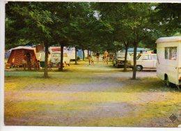 REF 239 : CPSM 07 Ruoms à Vallon Pont D'arc Camping Europ Vue Intérieure Du Camp Simca Caravane Peugeot 204 - France