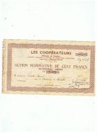 ACTION  LES COOPERATEURS DE CAUDRY (NORD)  HABITANT DE COUSOLRE (NORD)  1941 - Shareholdings