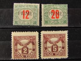 """ITALIA Regno Fiume -1918-19- """"Segnatasse"""" 4 Val. MH* (descrizione) - Occupation 1ère Guerre Mondiale"""