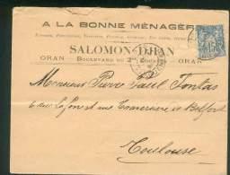 FRANCE ALGERIE LETTRE ORAN KARGUENTAH POUR TOULOUSE 1898 TYPE SAGE 15C II TB - 1876-1898 Sage (Type II)