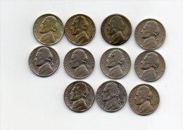 860 I ) USA - LOT DE 11  PIECES DE FIVE CENTS - Monnaies