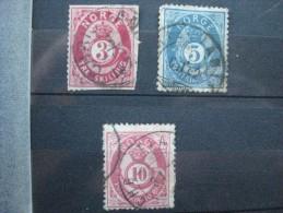 Timbre Norvège : 1873 - 1877  YT N° 18, 24, 25 - Usati