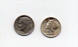 862 I ) USA - LOT DE 2  PIECES DE ONE DIME - 1945- 1965 - Monnaies