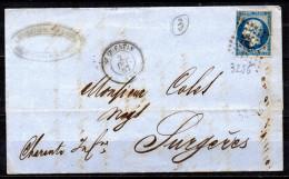 1/ France N° 14 Napoléon III Oblitéré Sur Lettre   , Cote : ?,00 € - 1853-1860 Napoleon III
