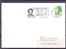 Rép. Française - Boucher De Perthes - Fondateur Préhistoire - Abbeville 21/9/88  (RM9930) - Préhistoire