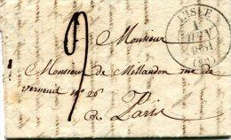 Vaucluse, L´Isle (89) Càd Type 13 Du 1er JUIN 1831, Taxe Tampon 9 - Marcophilie (Lettres)
