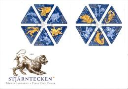 Enveloppe 1er Jour Suède Carnet No C2111 - Stockholm 12/08/1999 - Signes Du Zodiaque - FDC
