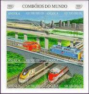 ANGOLA   988  MINT NEVER HINGED MINI SHEET OF TRAINS     ( - Treni