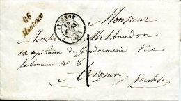 Vaucluse, Cursive 86 MONTEUX, Car Type 15 D'Avignon Du 10 MARS 1852 Taxe Tampon 1 - Marcophilie (Lettres)
