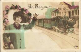 TRAIN-LOCOMOTIVE-UN BONJOUR - Gares - Avec Trains