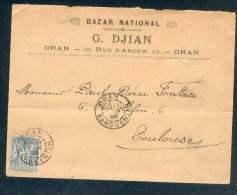 FRANCE ALGERIE LETTRE ORAN KARGUENTAH 1898 POUR TOULOUSE TYPE SAGE 15C II TB - 1876-1898 Sage (Type II)