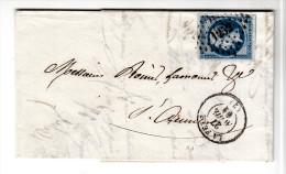 Frankreich, Falt Brief Mit Inhalt, Nummern Stempel 1252, Lafen Nach St. Quentin, 1861 - 1853-1860 Napoléon III.
