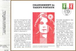 """Sur Feuillet CEF , FDC Paris 1991 . Deux Nouvelles Marianne à La Faciale  """"D"""". - FDC"""