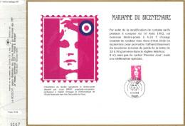 Sur Feuillet CEF , FDC Paris 1992 . Une Nouvelle Valeur Marianne Du Bicentenaire Sans Mention Premier Jour. - FDC