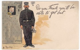 Phil May Artist Signed Tuck Series 1008, 'Do You Think You'll Be Able' Prison Guard With Keys 1900s Vintage Postcard - Prison