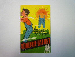 "Petit Calendrier  PUB  "" Vêtements Adolphe LAFFONT ""  1958  (format 6.5 X 10.5 Cm) - Calendriers"