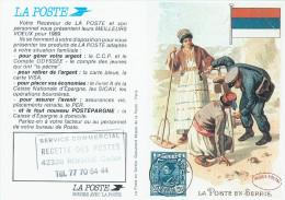 LA POSTE EN SERBIE - Au Verso Calendrier 1989 - Postal Services