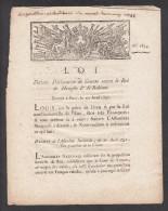 """"""" LOI """" Portant Déclaration De Guerre Contre Le Roi De Hongrie & De Bohême, Le 20 Avril 1792. - Gesetze & Erlasse"""